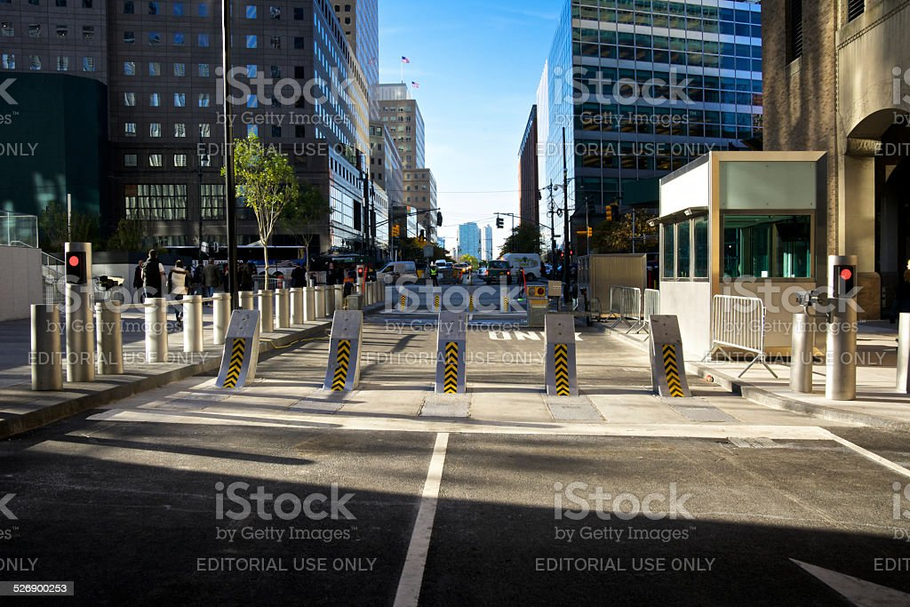 Counter-Terrorism Barrier, One World Trade Center, New York City stock photo