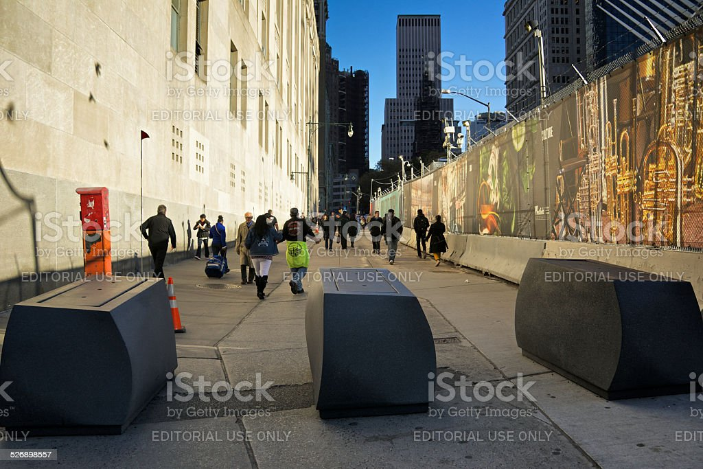 Counter-Terrorism Barriers at Ground Zero, WTC, New York City stock photo
