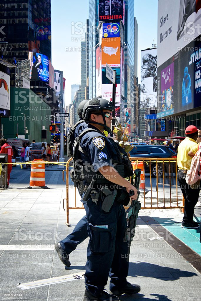 NYPD Counter-Terrorism Officers, Times Square, Manhattan, New York City stock photo