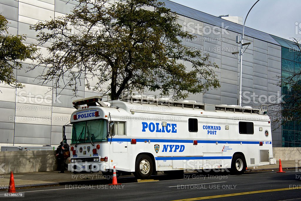 NYPD Counter-Terrorism Patrol, Command HQ, Manhattan, New York City stock photo