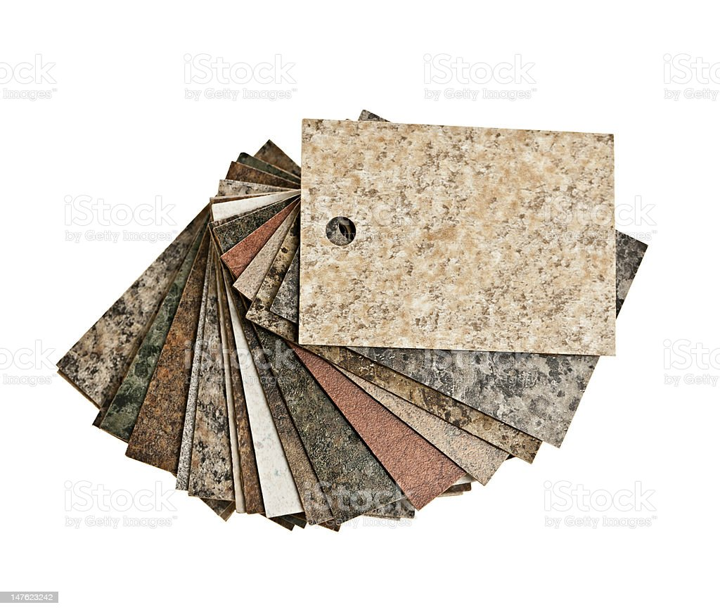 Countertop samples on white background stock photo