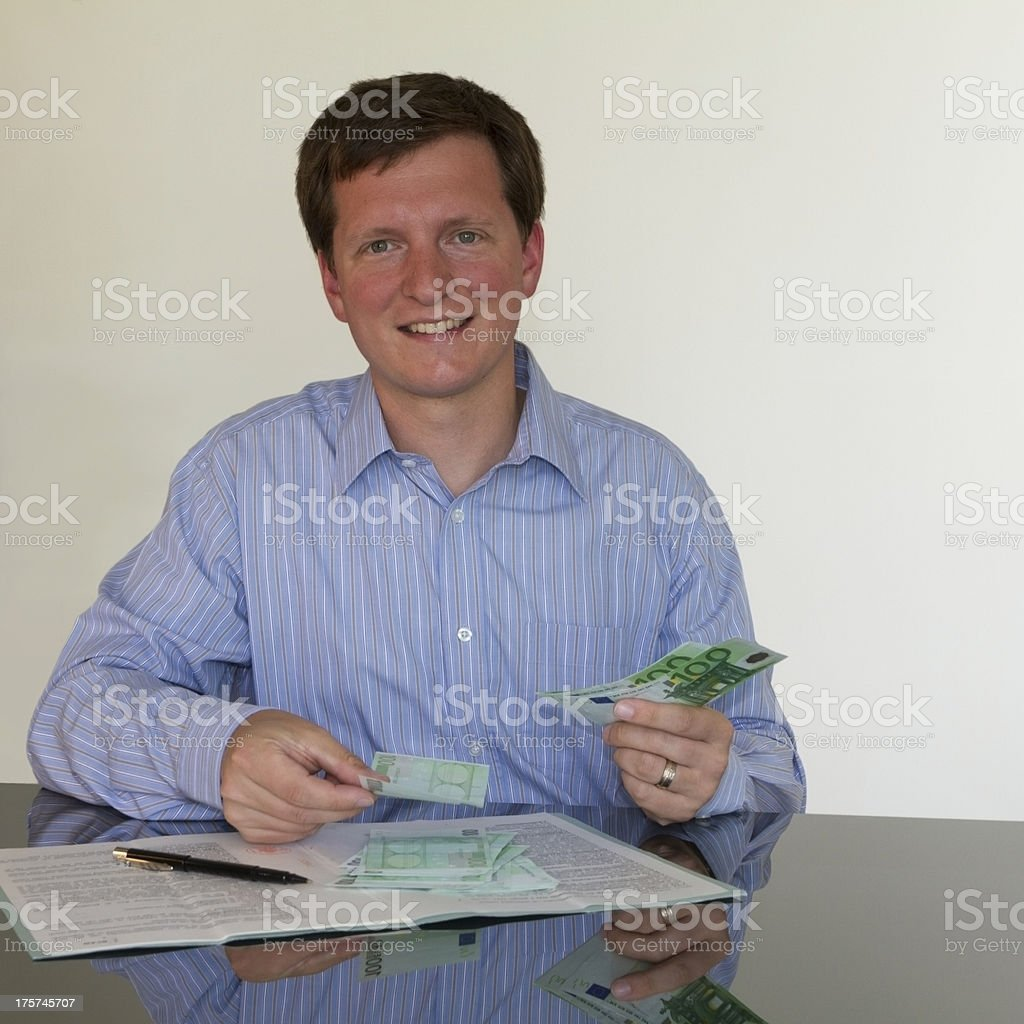 Counting 100 Euros (square) royalty-free stock photo