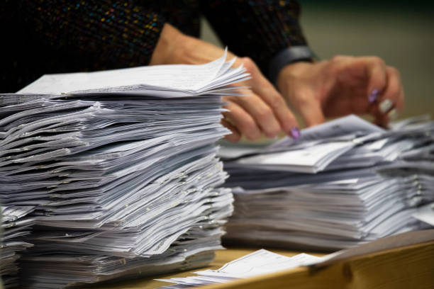 counting ballot papers during election - ballot stock pictures, royalty-free photos & images