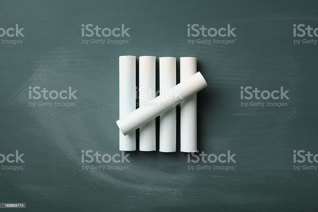 Counting by chalk on a blackboard with copy space stock photo