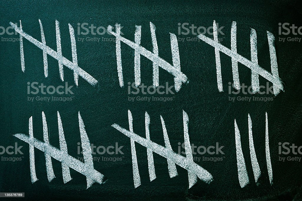 Counting days on the blackboard stock photo
