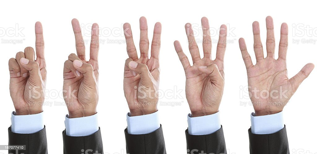 counting hand isolated stock photo