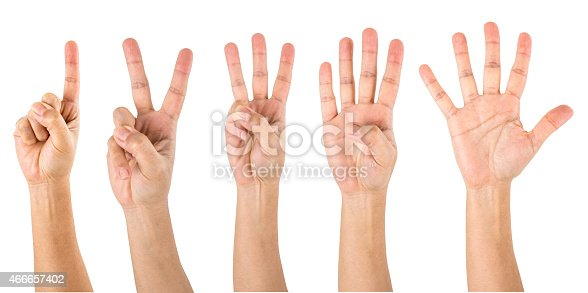 Counting Hands from one to five, isolated over white background