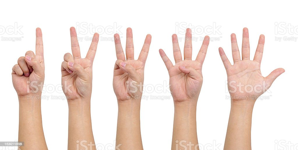 Counting hands (one to five) stock photo