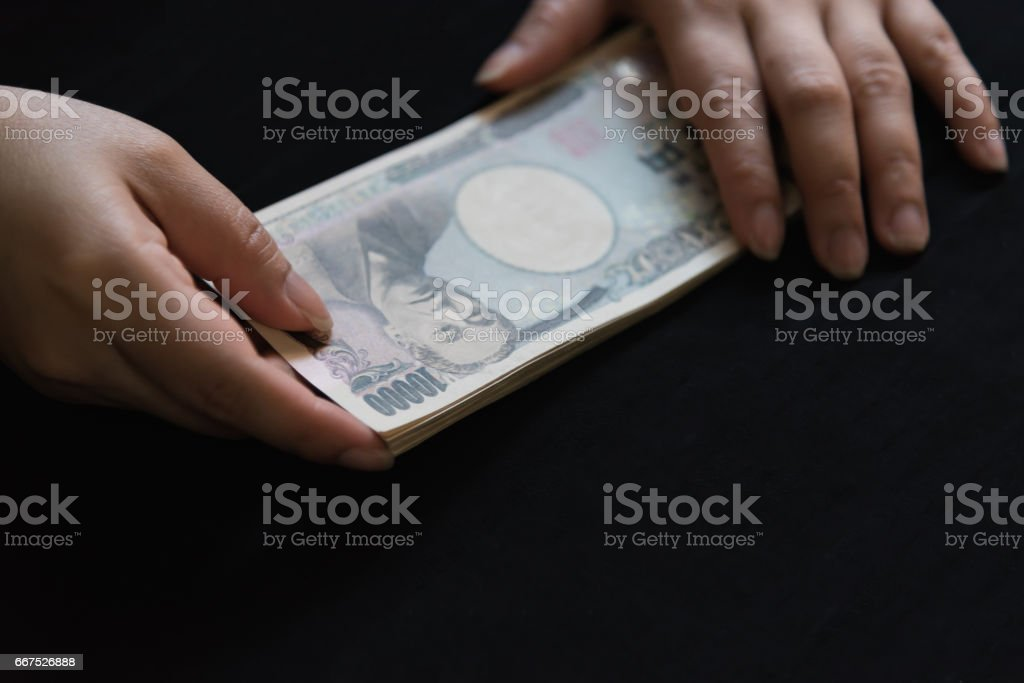 Counting japan banknote foto stock royalty-free