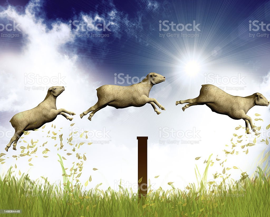 Counting jumping sheep stock photo