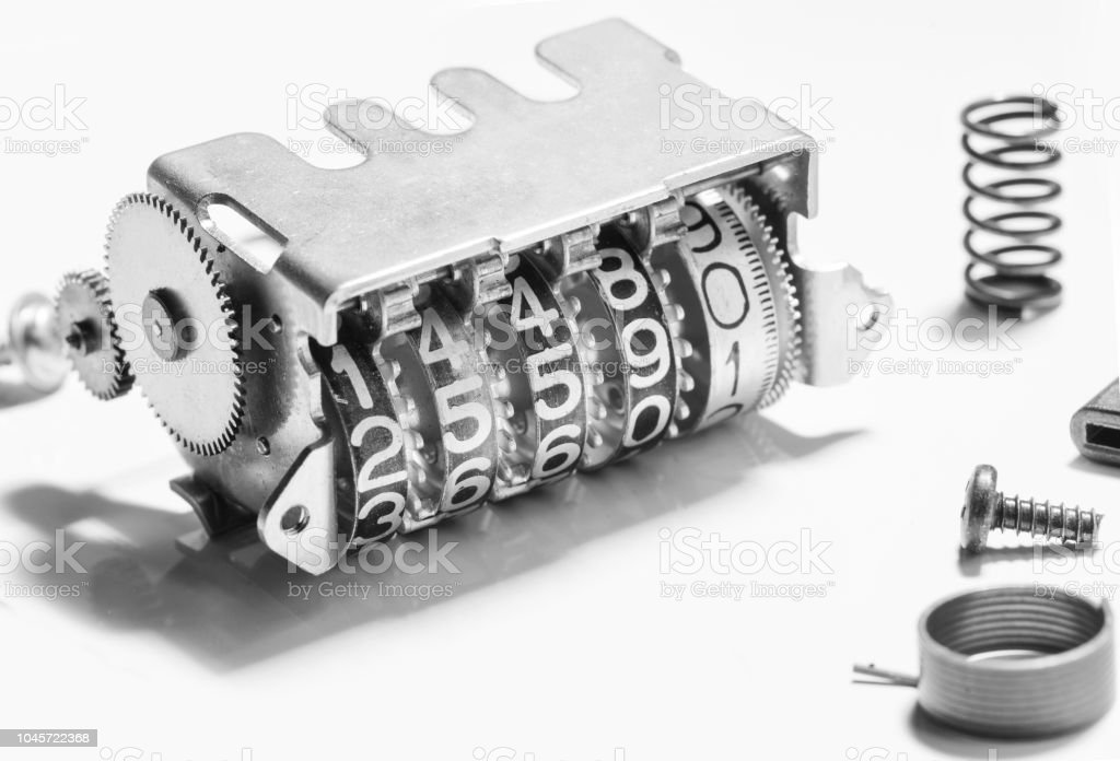 counting meter mechanical part number stock photo