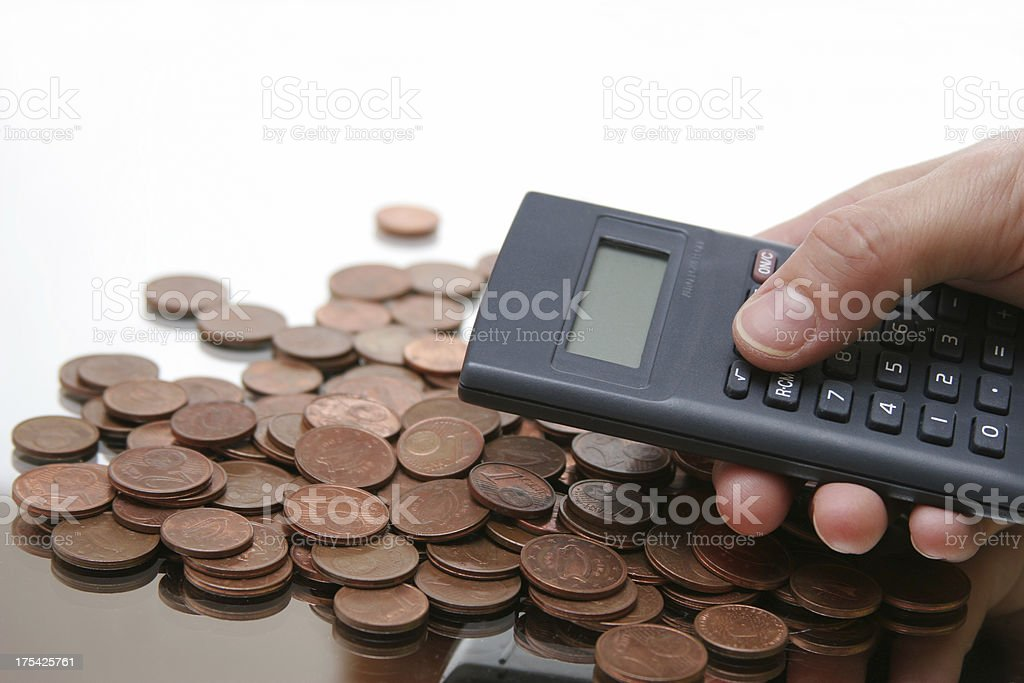 counting money, calculator in hand royalty-free stock photo