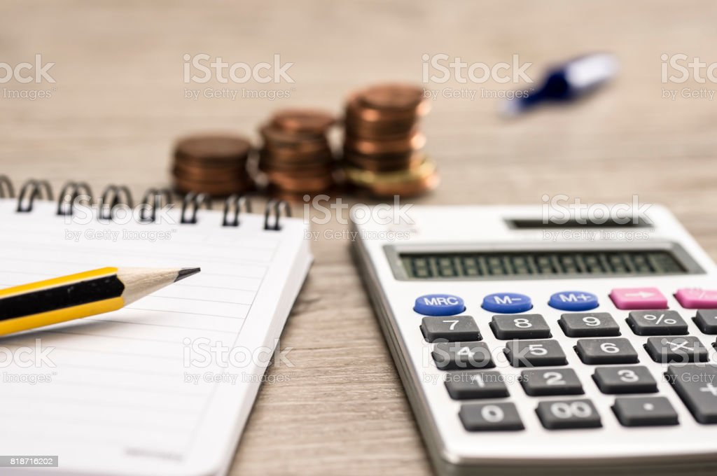 Counting money concept stock photo