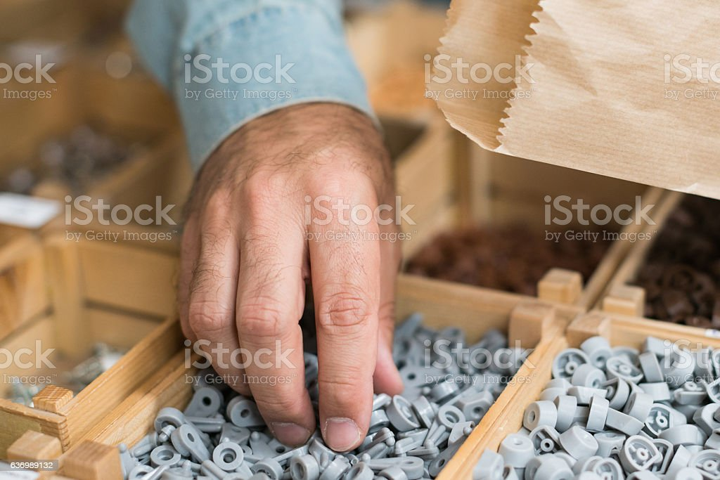 Counting of plastic products stock photo