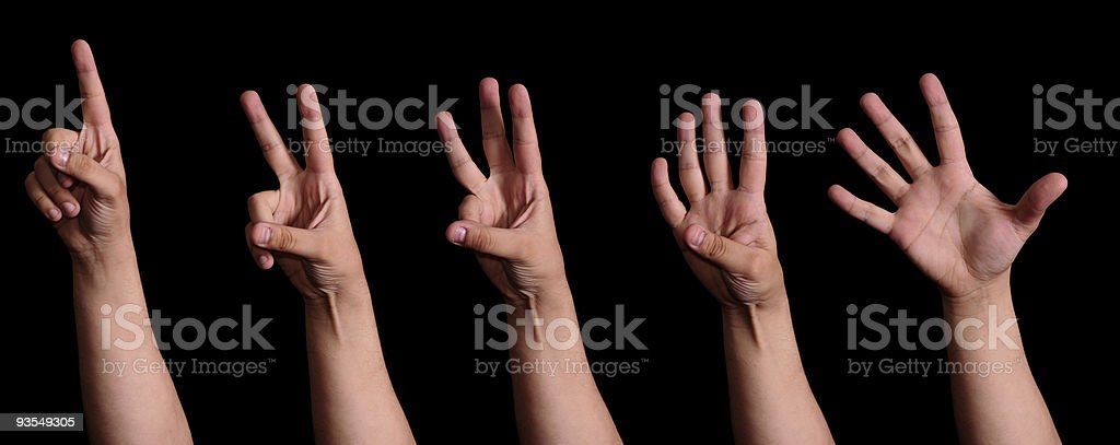 Counting one to five royalty-free stock photo