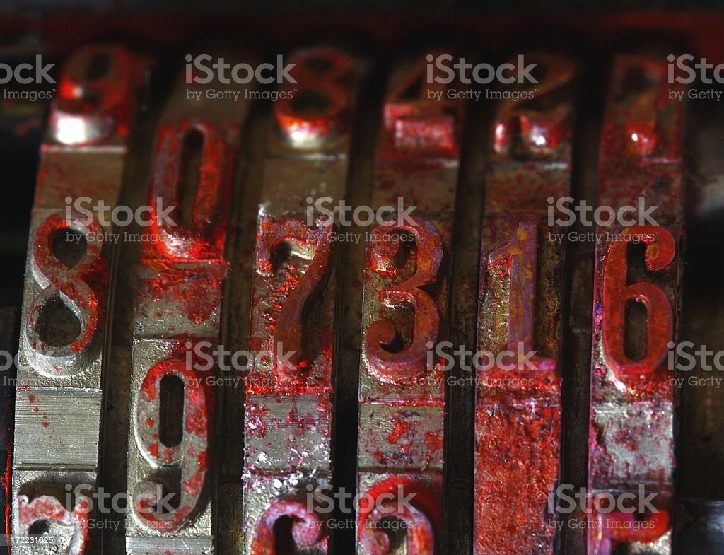 Counting stamp covered in red ink royalty-free stock photo