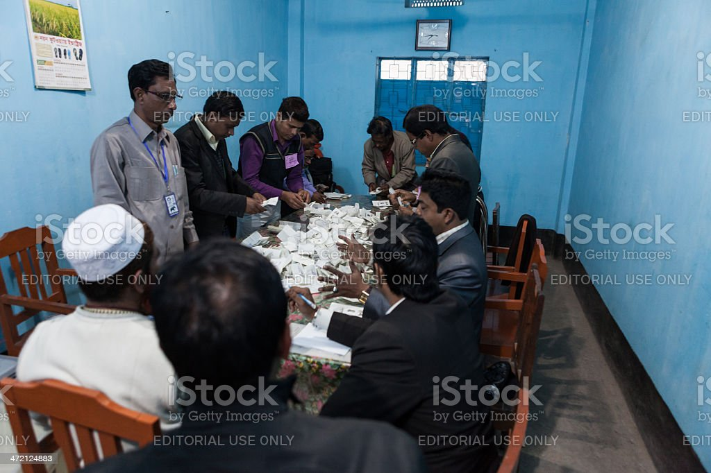 Counting the votes after election in Bangladesh stock photo