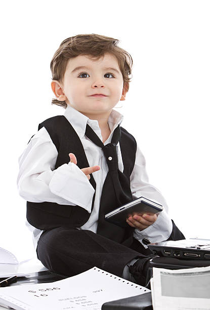 Counting with the fingers young businessman stock photo