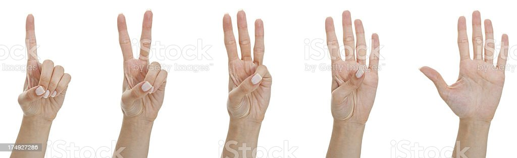 Counting woman hands royalty-free stock photo