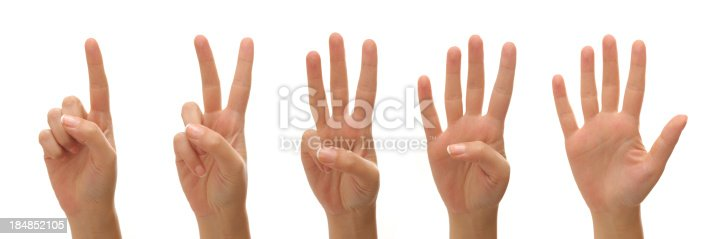 istock Counting woman hands 184852105