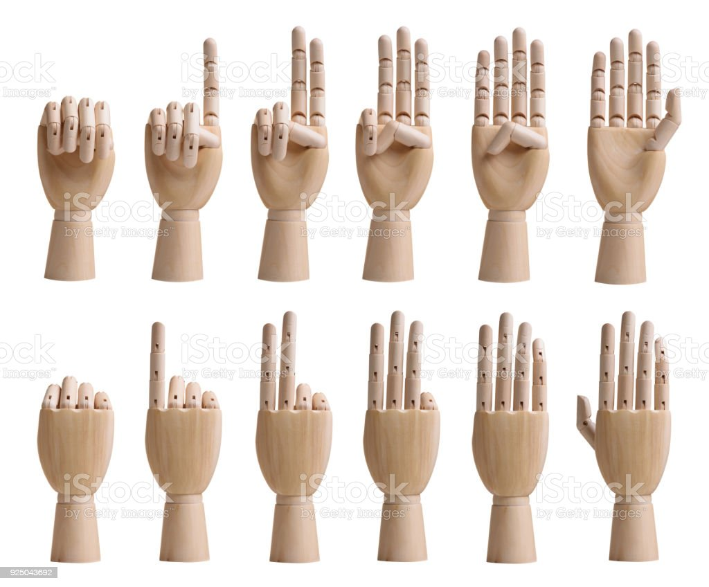 Counting wooden hands set isolated on white background stock photo
