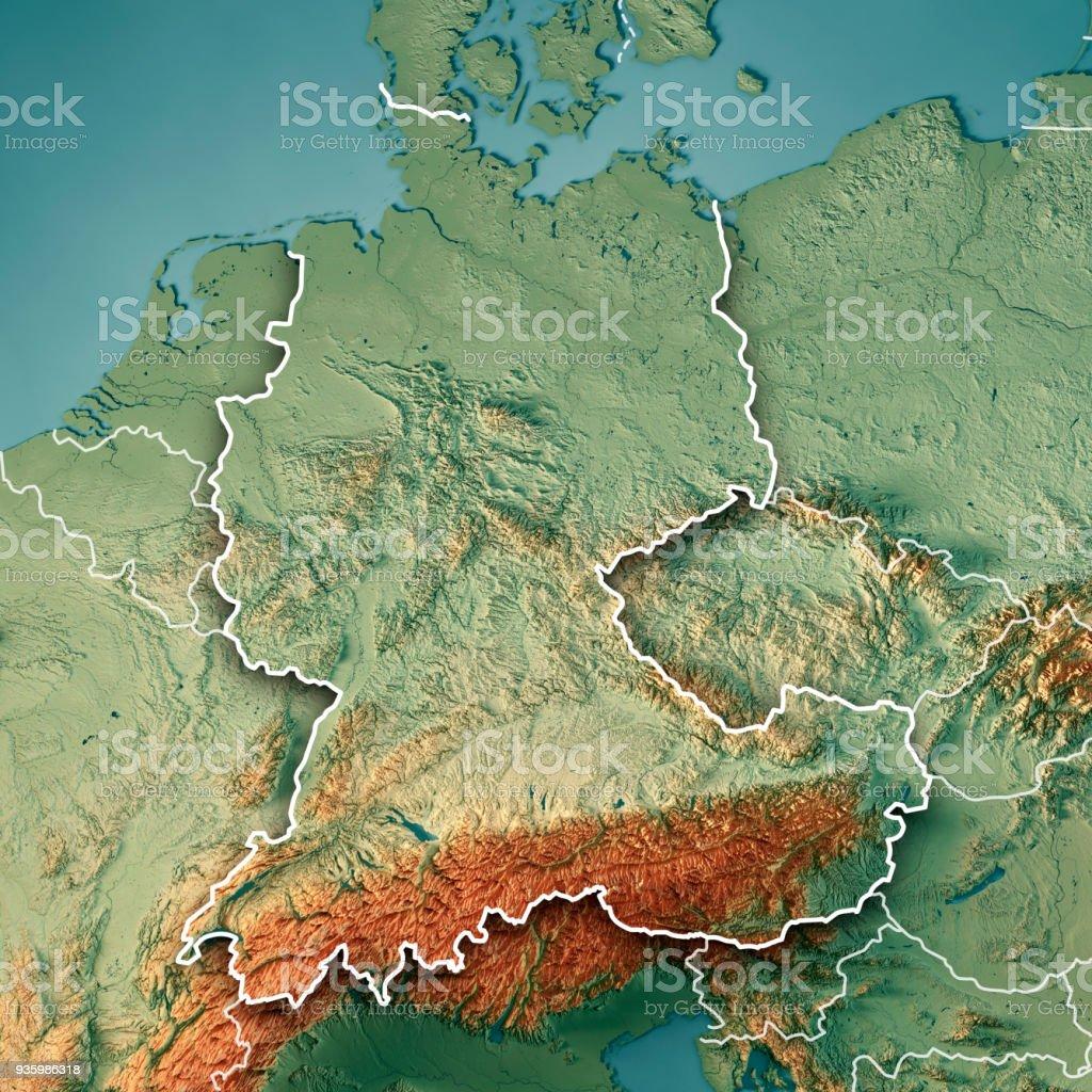 Topographische Karte Farbe Grenze in D-A-CH-Ländern 3D Render – Foto