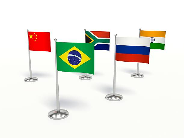 BRICS countries small flags. 3d illustration stock photo