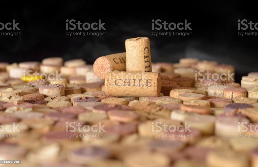Countries winemakers. Chile's name on wine corks. stock photo