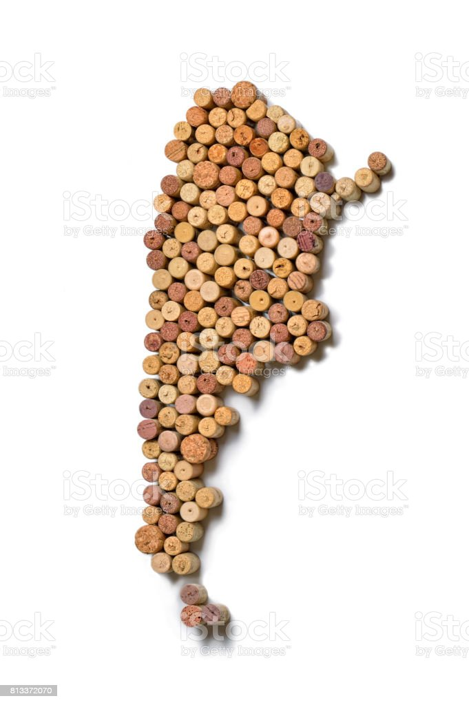 Countries winemakers - maps from wine corks. Map of Argentina on white background. stock photo