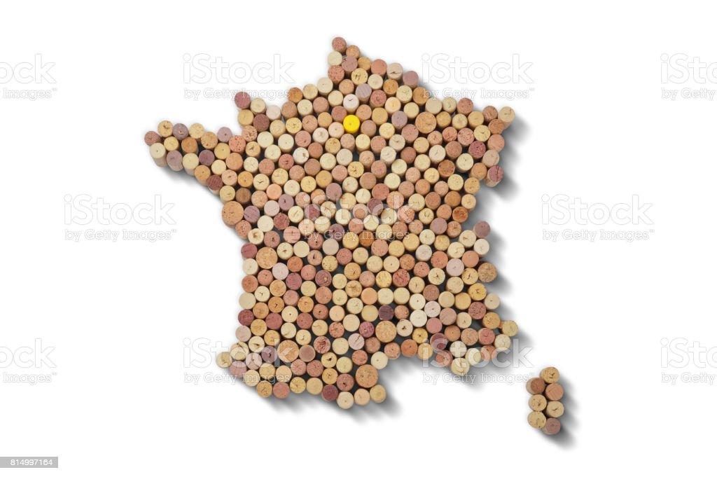 Vignerons de pays - cartes de bouchons de vin. Carte de France sur fond blanc. - Photo