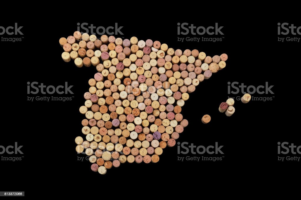 Countries winemakers - maps from wine corks. Map of Spain on black background. stock photo