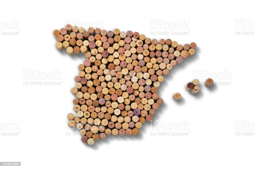Countries winemakers - maps from wine corks. Map of Spain on white background. stock photo