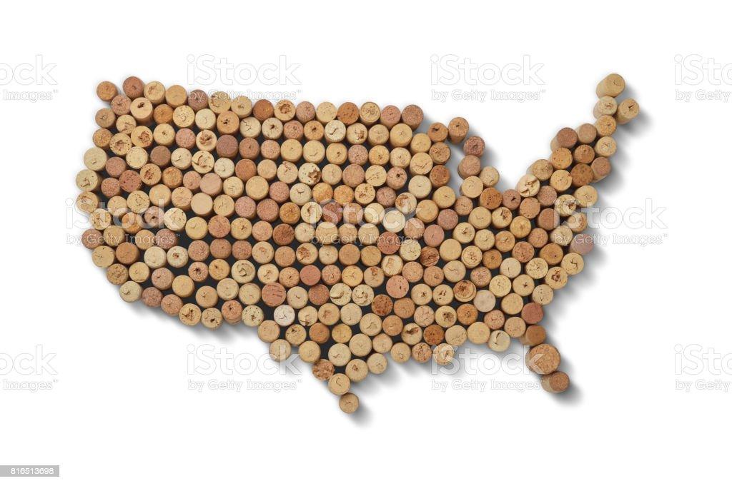 Vignerons de pays - cartes de bouchons de vin. Carte des Etats-Unis, sur fond blanc. - Photo