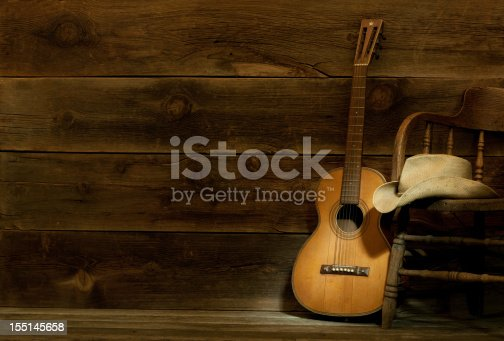 (this is a four image stitch) This is a Country and Western theme panorama spot lighting the vintage guitar and cowboy hat. The dark barn wood offers space for over printing.