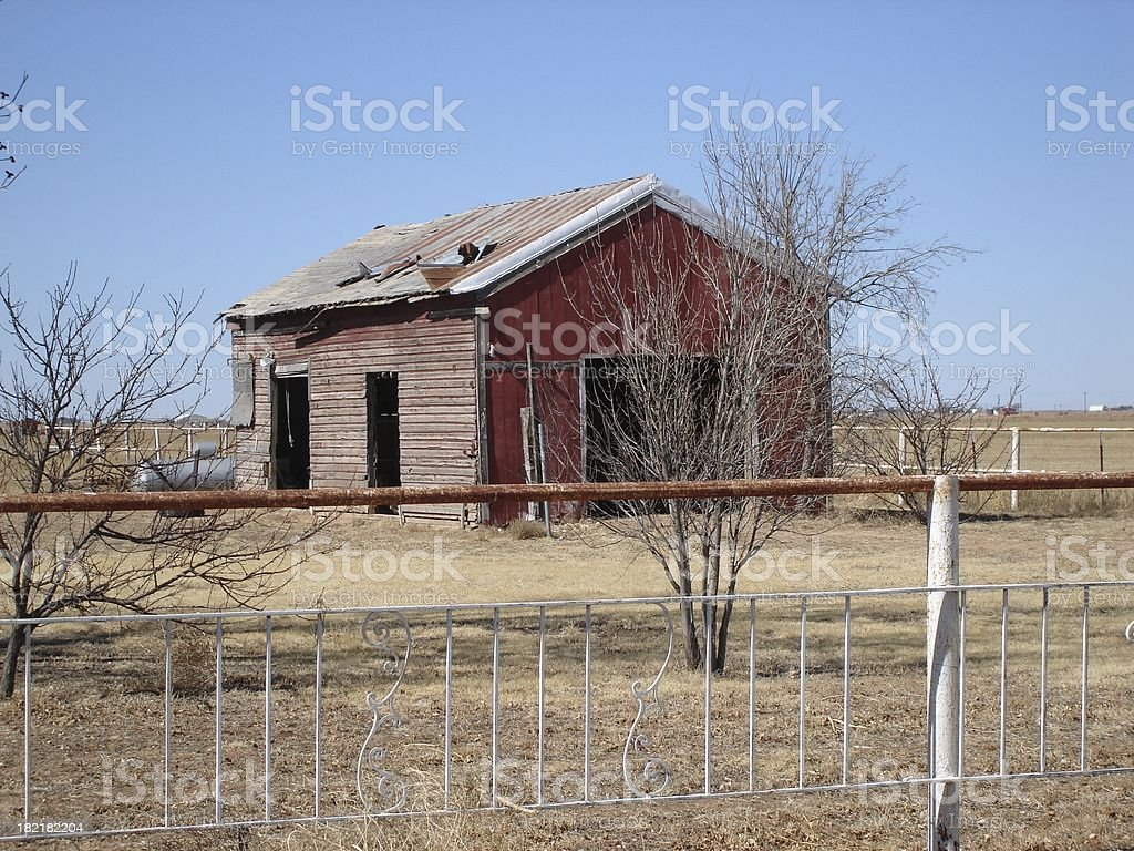Country barn, tin roof almost gone royalty-free stock photo