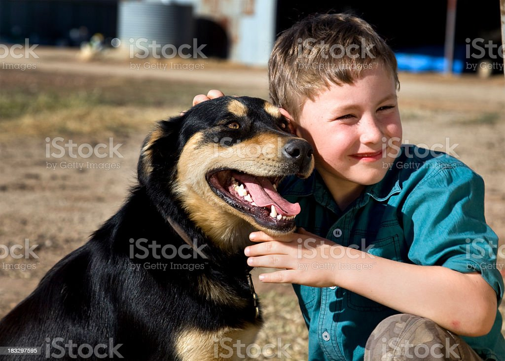 Country Boy and his dog stock photo