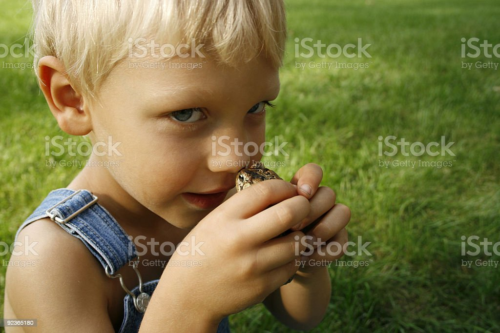 Country boy holding a frog royalty-free stock photo