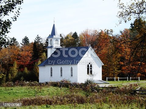 istock Country Church in Autumn 1270137367
