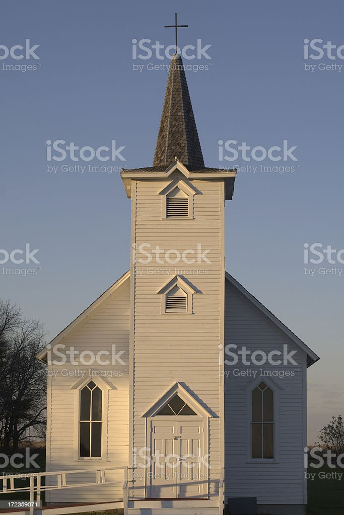 Country Church in Autumn Twilight royalty-free stock photo