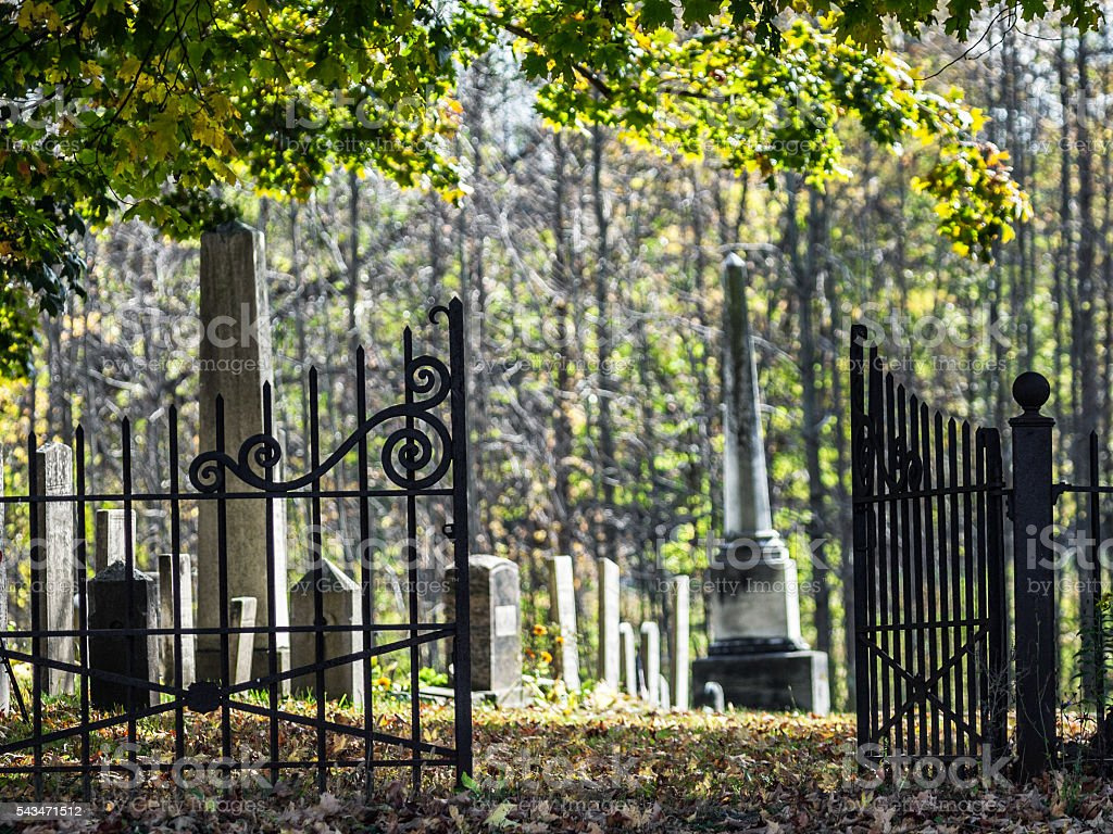Country Churchyard Antique Wrought Iron Fence Cemetery Open Gates Royalty Free Stock Photo