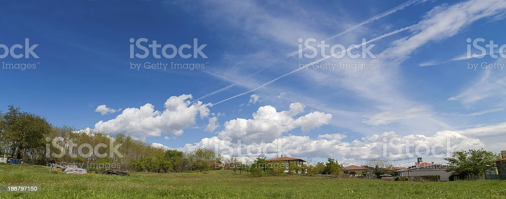 Country Cloudscape wide Panorama stock photo
