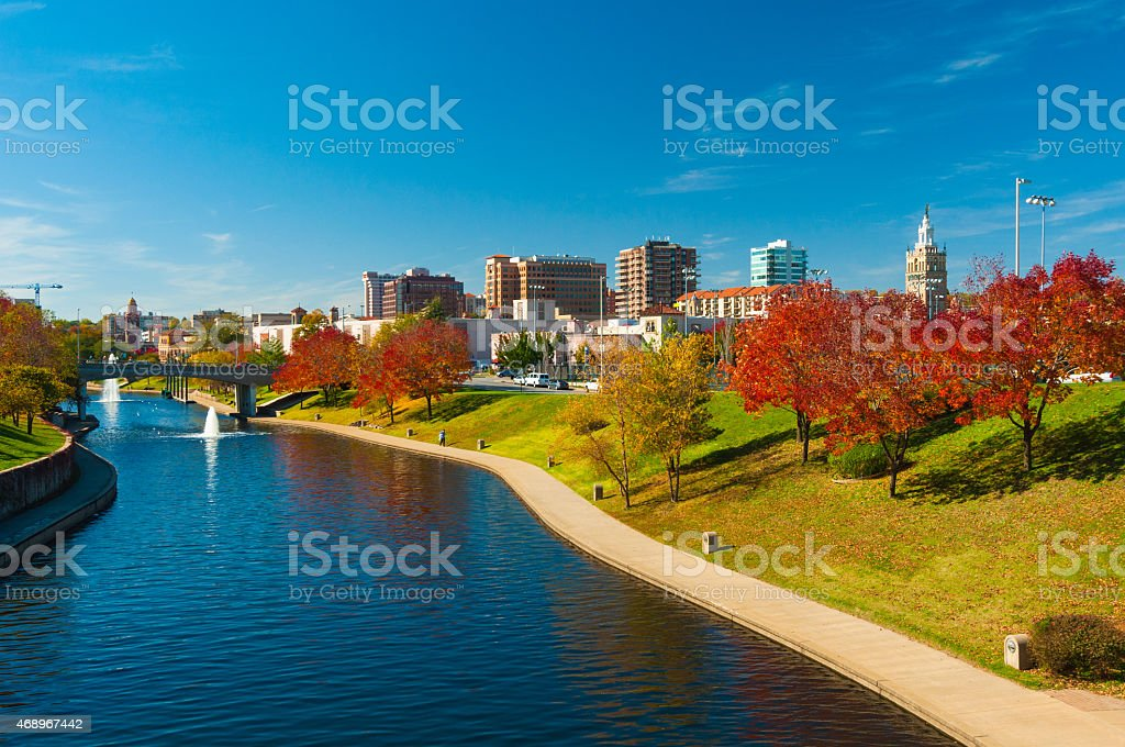Country Club Plaza District and Brush Creek in Kansas City stock photo