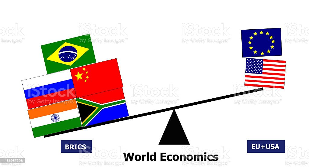 BRICS country cooperation vs eu usa stock photo