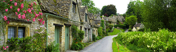 country cottages panorama - england stock photos and pictures