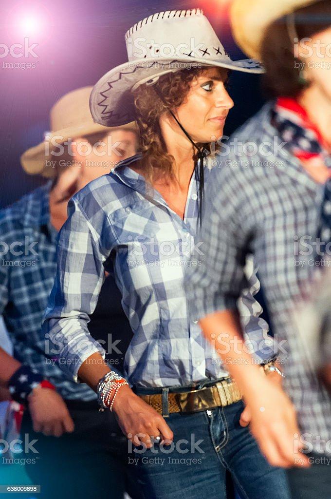 Country dance school girls stock photo