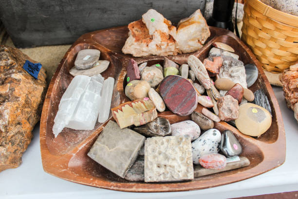 Country fair stones and crystals stock photo