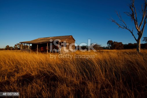 Wide angle shot of Old farm house at sunset.