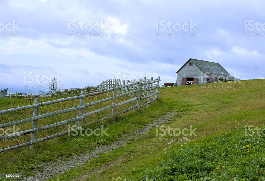 Country fence and barn. stock photo