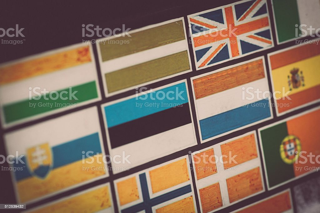 Country flag stickers stock photo