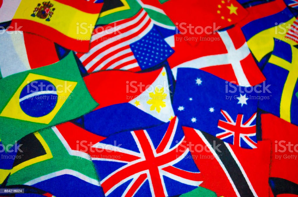 Country flags in fabric stock photo